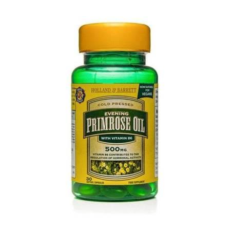 Olej z Wiesiołka 500 mg z Witaminą B6 Produkt Wegański 30 Kapsułek Żelowych