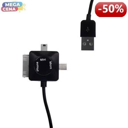 Whitenergy Kabel do przesyłu danych 3w1: Micro USB, Mini USB, iPhone4, 100cm, czarny