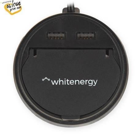 Whitenergy Ładowarka samochodowa kubek, 2x USB, wyjście 5V/ 3.1A, czarna