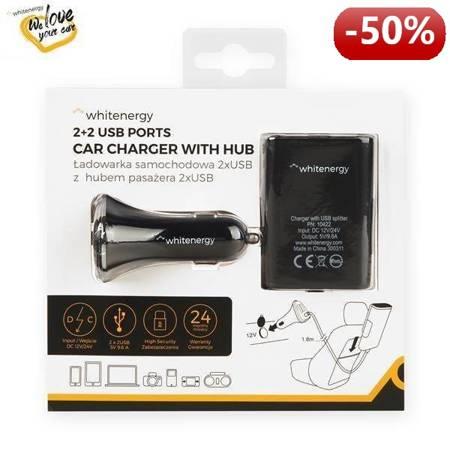 Whitenergy Ładowarka samochodowa, rozdzielacz gniazda zapalniczki, 2+ 2x USB, wyjście 5V/ 9.6A, czarna