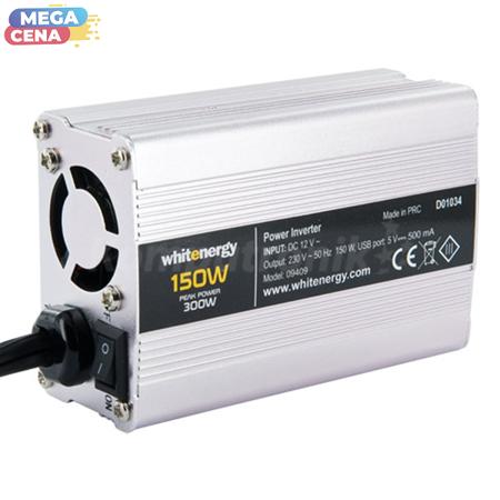 Whitenergy Przetwornica DC/AC 12/230 150W USB SLIM