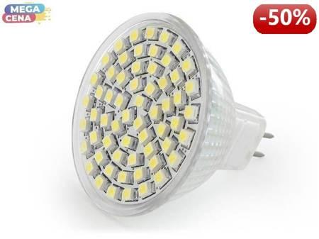 Whitenergy Źródło LED|60xSMD3528|MR16|GU5.3|3.8W|12V|ciepłe białe|bez szybki