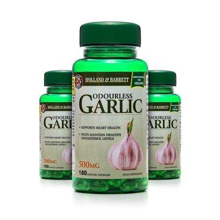 Zestaw 2+1 (Gratis) Bezzapachowy Czosnek 500 mg 180 Kapsułek Żelowych Produkt Wegański