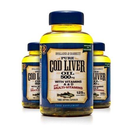Zestaw 2+1 (Gratis) Olej z Wątroby Dorsza z Multiwitaminami 500 mg dla Pescowegetarian 180 Kapsułek Żelowych