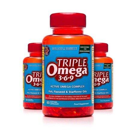Zestaw 2+1 (Gratis) Potrójny Kwas Omega 3-6-9 dla Pescowegetarian 60 Kapsułek Żelowych
