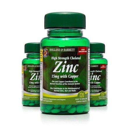 Zestaw 2+1 (Gratis) Silnie Działający Cynk Chelat 15 mg z Miedzią 120 Tabletek