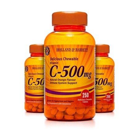 Zestaw 2+1 (Gratis) Witamina C 500 mg z Dziką Różą 250 Tabletek do Żucia
