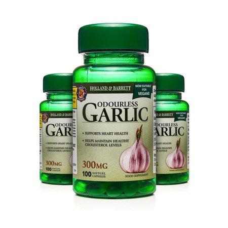 Zestaw Suplementów 2+1 (Gratis) Bezzapachowy Czosnek 300 mg Produkt Wegański 100 Kapsułek Żelowych