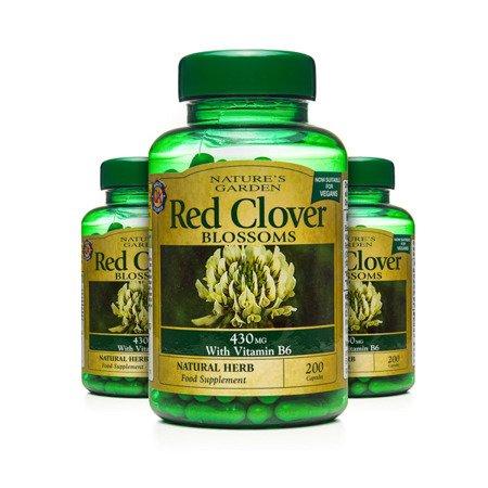 Zestaw Suplementów 2+1 (Gratis) Czerwona Koniczyna 430 mg z Witaminą B6 Produkt Wegański 200 Kapsułek