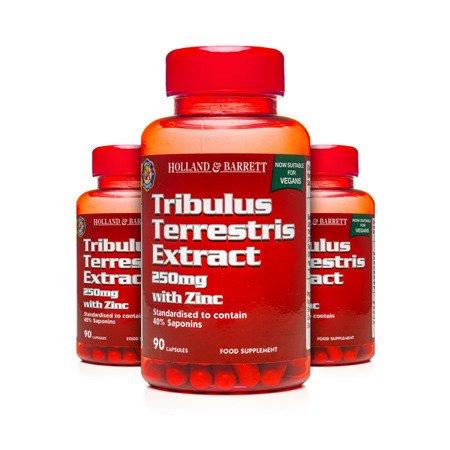 Zestaw Suplementów 2+1 (Gratis) Ekstrakt z Tribulus Terrestris 250 mg z Cynkiem 90 Kapsułek