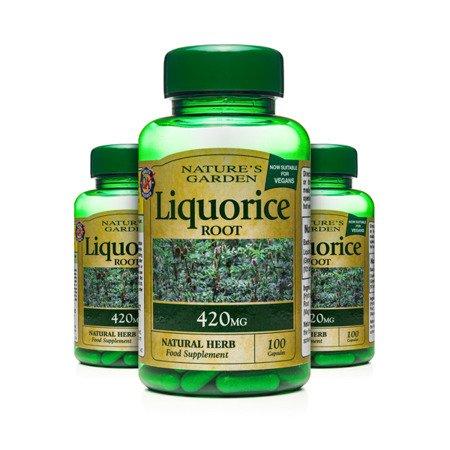 Zestaw Suplementów 2+1 (Gratis) Korzeń Lukrecji 420 mg Produkt Wegański 100 Kapsułek