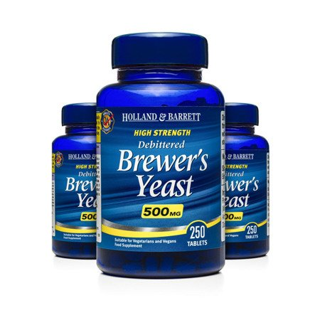 Zestaw Suplementów 2+1 (Gratis) Naturalne Drożdże Piwne 500 mg 250 Tabletek
