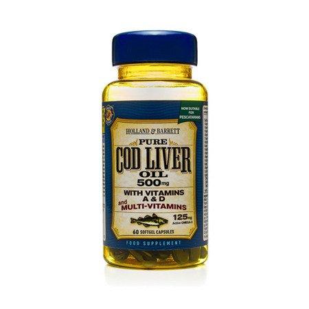Zestaw Suplementów 2+1 (Gratis) Olej z Wątroby Dorsza z Multiwitaminami 500 mg dla Pescowegetarian 60 Kapsułek Żelowych