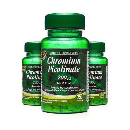 Zestaw Suplementów 2+1 (Gratis) Pikolinian Chromu 200 ug 250 Tabletek